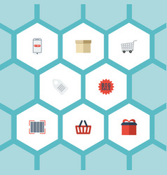 flat icons purchase present case and other vector image