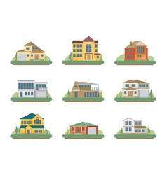 Flat residential houses vector