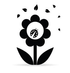 flower with ladybug vector image