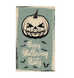 flyer template halloween party evil pumpkin on vector image