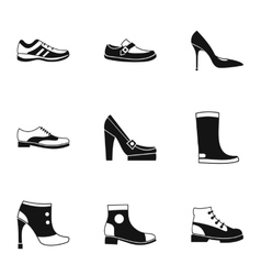 Footgear icons set simple style vector image