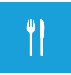 Fork and knife icon white vector