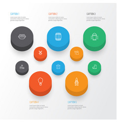 garden icons set collection of ovum hang lamp vector image
