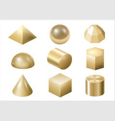 Gold metal forms 3 vector