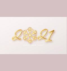 gold realistic metallic text 2021 with golden vector image