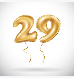 Golden number 29 twenty nine metallic balloon vector