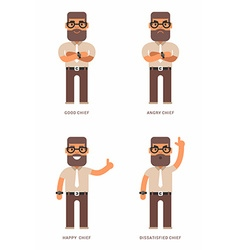 Good angry happy dissatisfied chief A set of four vector