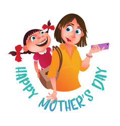 greeting card to happy mothers day mom with phone vector image