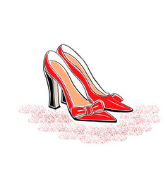 hand drawin shoes on a high heel vector image