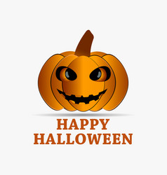 happy halloween pumpkin icon with shadow isolated vector image