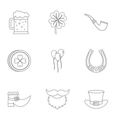 Happy st patricks day icon set outline style vector