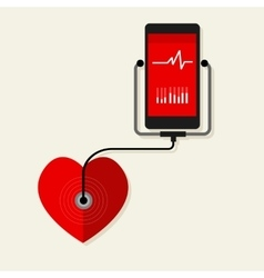 health heart rate mobile monitoring phone vector image
