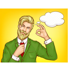 hipster man in green suit cartoon vector image