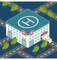 Hospital building medical flat isometric vector image