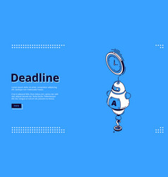 landing page deadline with chat bot and clock vector image
