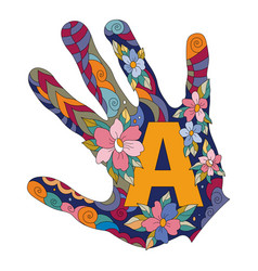 letter a in hand vector image