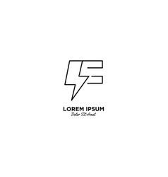 Letter f flash logo design vector