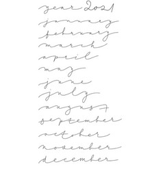 list months names in calligraphic style vector image