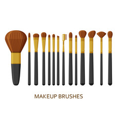 make up brushes set cosmetic icons collection vector image