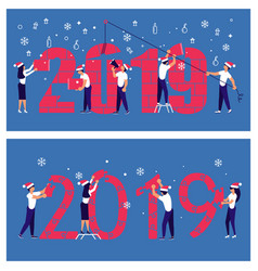 man and woman building a numbers 2019 vector image