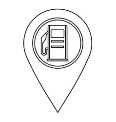 map pin pointer with gas station sign icon vector image
