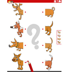 Match halves pictures with dogs educational vector