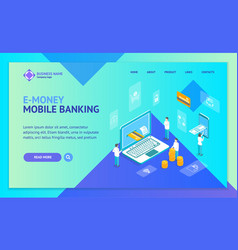 mobile bank payment technology concept landing web vector image