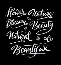 Nature and flower hand written typography vector