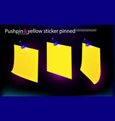 Office set yellow stickers pinned blue vector