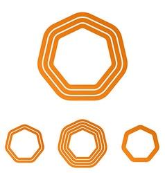 Orange line heptagon logo design set vector