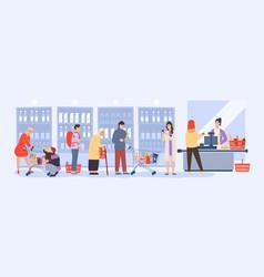 people shopper queue at supermarket counter desk vector image