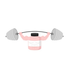 Pink Container sports nutrition Press Overhead vector