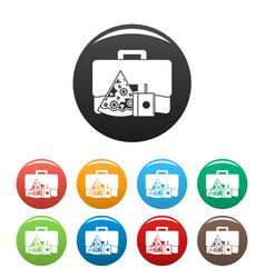 pizza lunch bag icons set color vector image