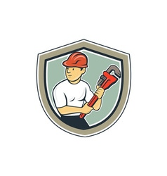 Plumber Holding Monkey Wrench Shield Cartoon vector