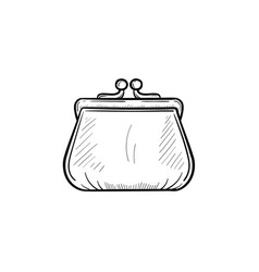 purse hand drawn outline doodle icon vector image