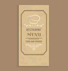 Restaurant menu food and drinks design chef hat vector