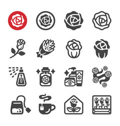 rose icon set vector image