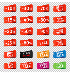 sale tag set transparent background vector image