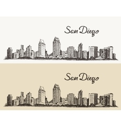San Diego skyline e hand drawn sketch vector image