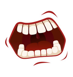 Screaming mouth crazy or angry human emotion vector