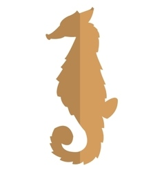 seahorse brown silhouette icon vector image