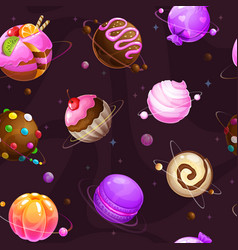 seamless pattern with cute cartoon sweet planets vector image