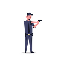 Security guard man in black uniform holding pistol vector