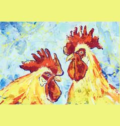 Serious roosters gouache vector