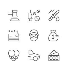 set line icons criminal vector image