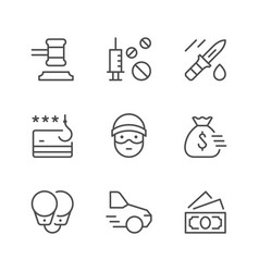 set line icons of criminal vector image