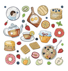 set of morning breakfast elements isolated on vector image
