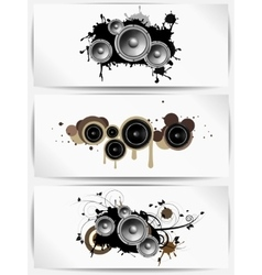 Set of musical grunge backgrounds with subwoofer vector