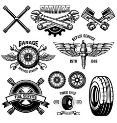 Set of vintage tire service emblems and design vector