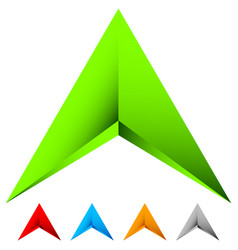 Sharp edgy 3d arrow icon in more color with bevel vector